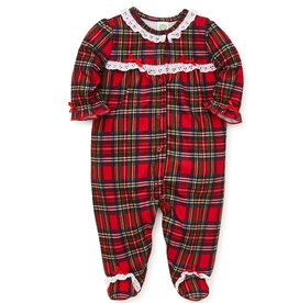 Little Me Plaid Ruffle Sleeper