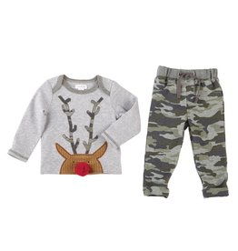 Mud Pie Camo Reindeer Pant Set