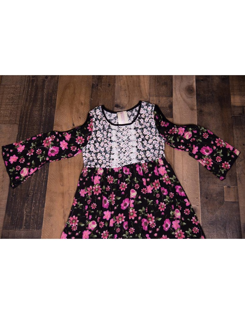 Black And Pink Floral Baby Doll Dress Peek A Bootique