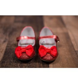 Laura Ashley Red Shimmer Bow Flats