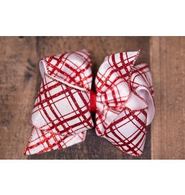 Wee Ones King White With Red Glitter Plaid Bow