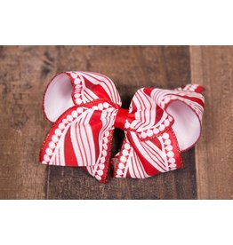Wee Ones Medium Red And White Striped Bow