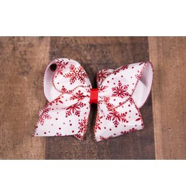 Wee Ones King White With Glitter Red Snowflakes
