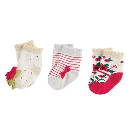Mud Pie Christmas Floral Sock Set