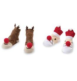 Mud Pie Christmas Knit Nose Rattle Socks