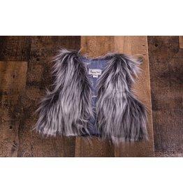 Mud Pie Bohemian Babes Grey Fur Vest