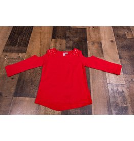 CR Sports Red Cold Shoulder Shirt