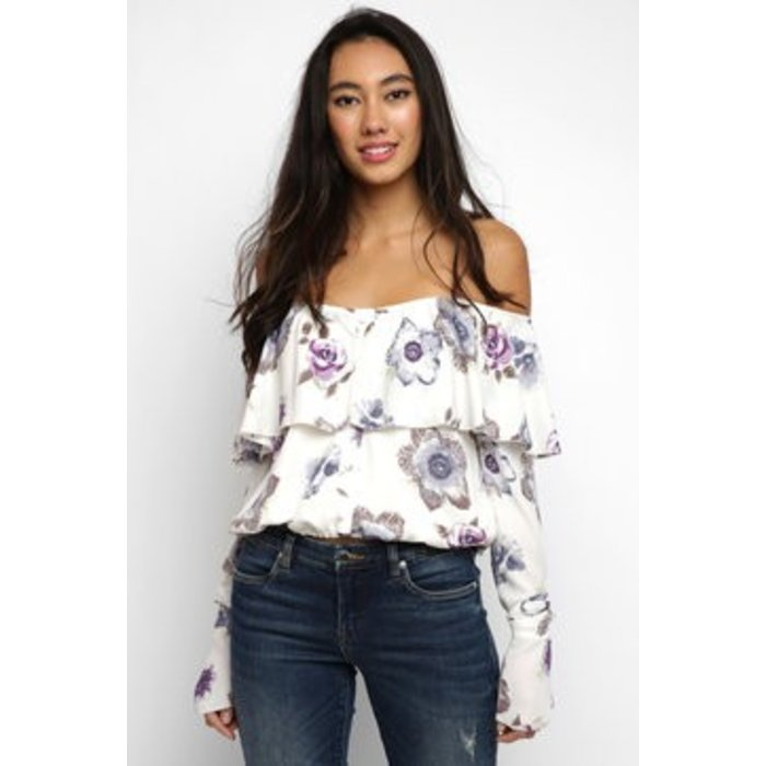 Floral Off Shoulder Ruffle
