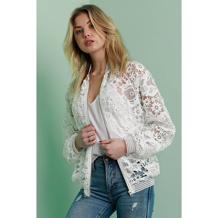 Floral Lace Bomber