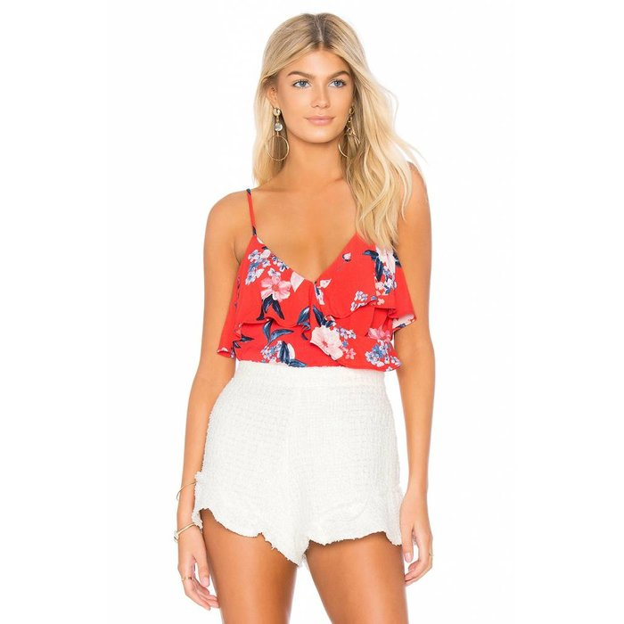 Berkely V-Neck Floral-Print Ruffled Top