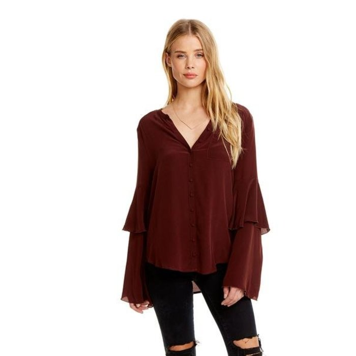Chaser Silk Tiered Sleeve Top