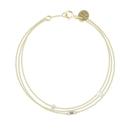 Sweet Pea Three Stand Baguette & Pearl Bracelet