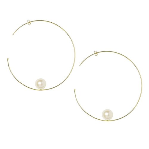 Sweet Pea Large Pearl Hoops