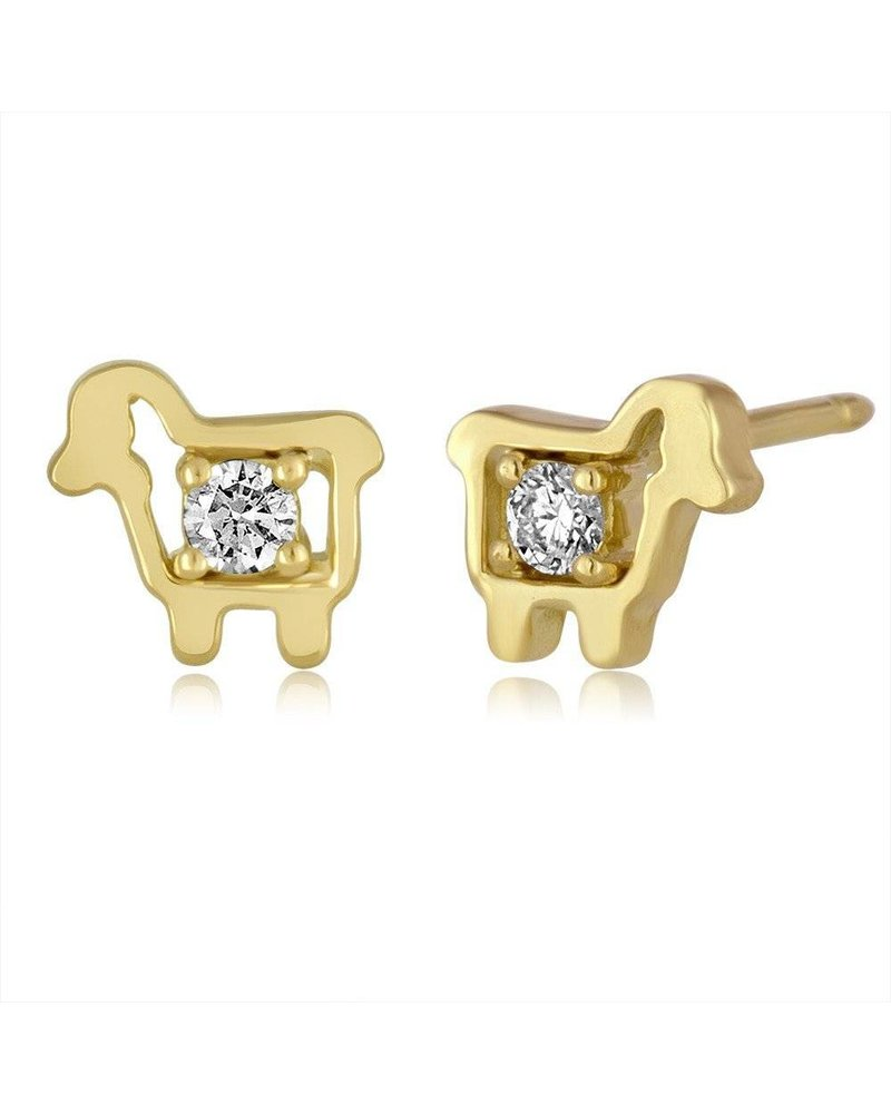 Julie Lamb Mini Logo Diamond Stud