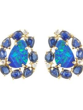 Jane Kaye Mixed Media Blue Sapphire Studs