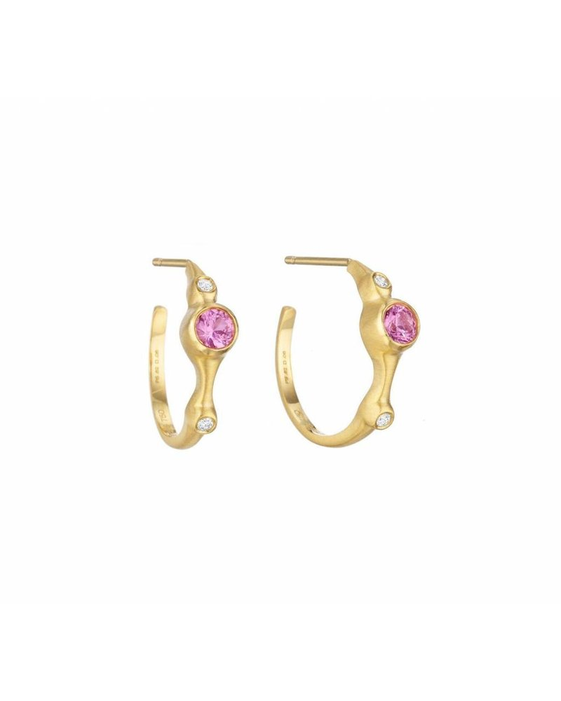 Carelle Pink Sapphire & Diamond Stack Hoops