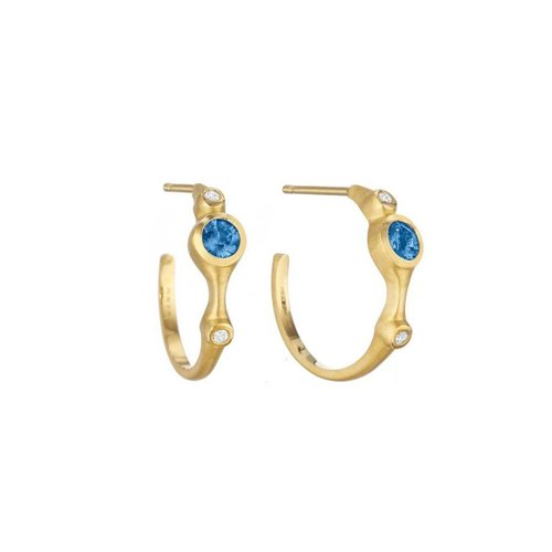 Carelle Blue Sapphire & Diamond Stack Hoops