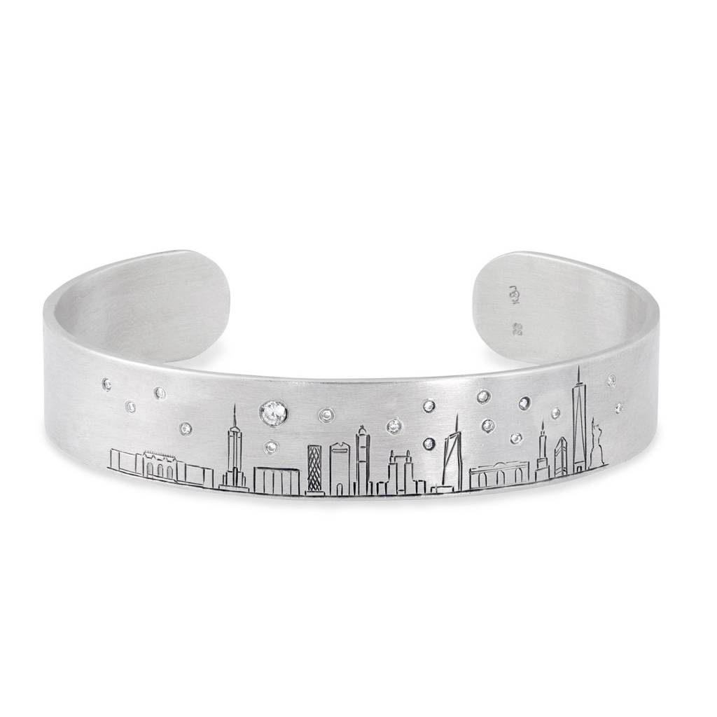 Silver & Diamond Skyline Cuff