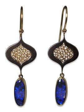 Fire & Forge Randi Brothers Tear Drop Opal Earrings