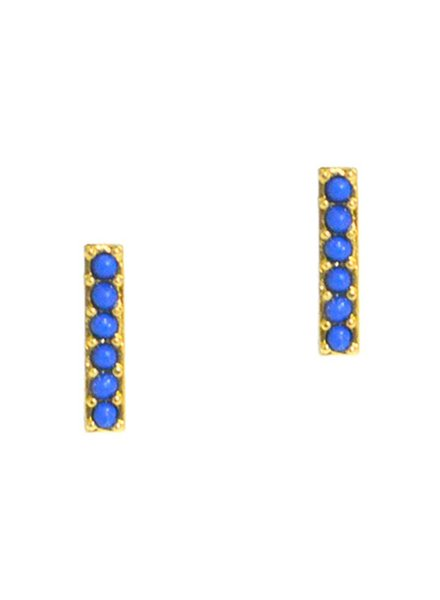 Tai Gold Stick Earrings Featuring Lapis