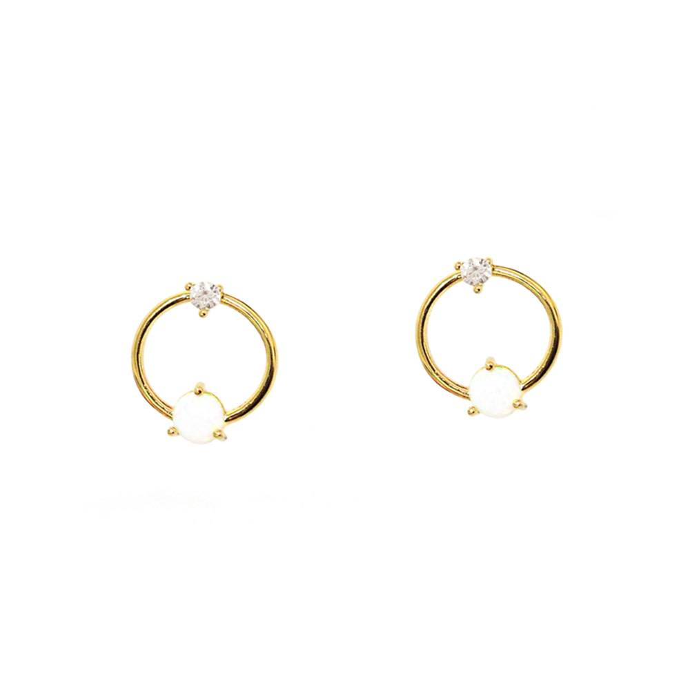 rose something l circle studs to silver gold open pave zoom hover cz earrings default