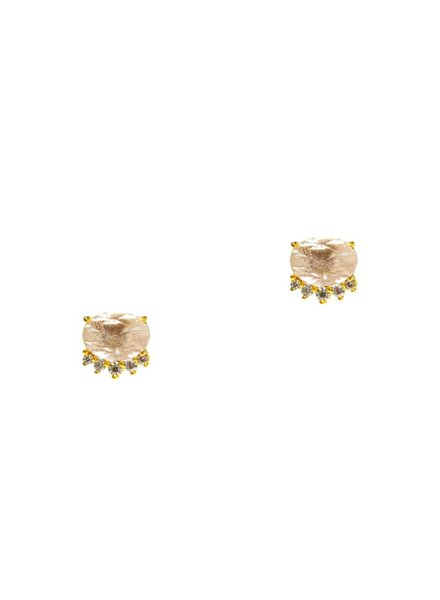 Tai Oval Rose Quartz Studs