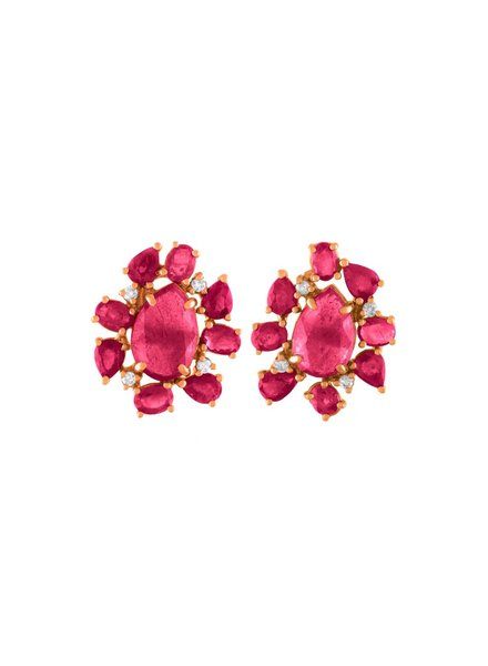 Jane Kaye Mixed Media Ruby Studs