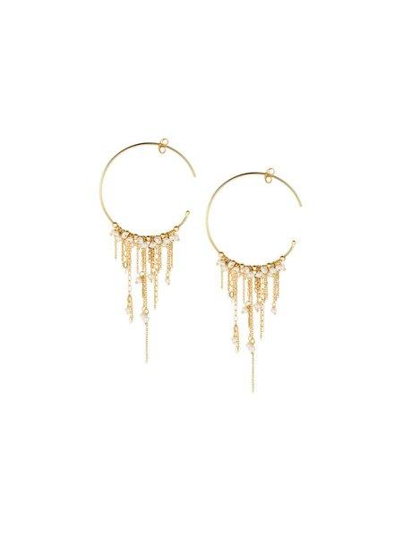 Sweet Pea Chain Hoop Earrings
