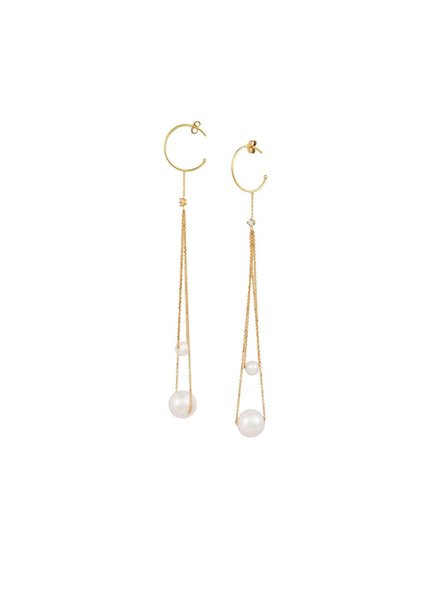 Sweet Pea Double Drop Pearl Earrings