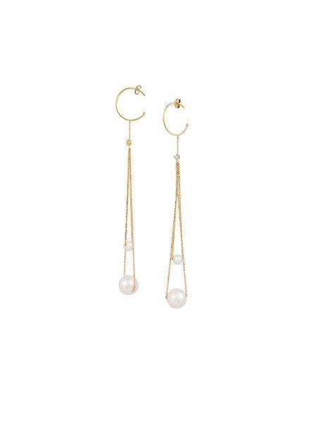 Sweet Pea Double Drop Pearl Earrings