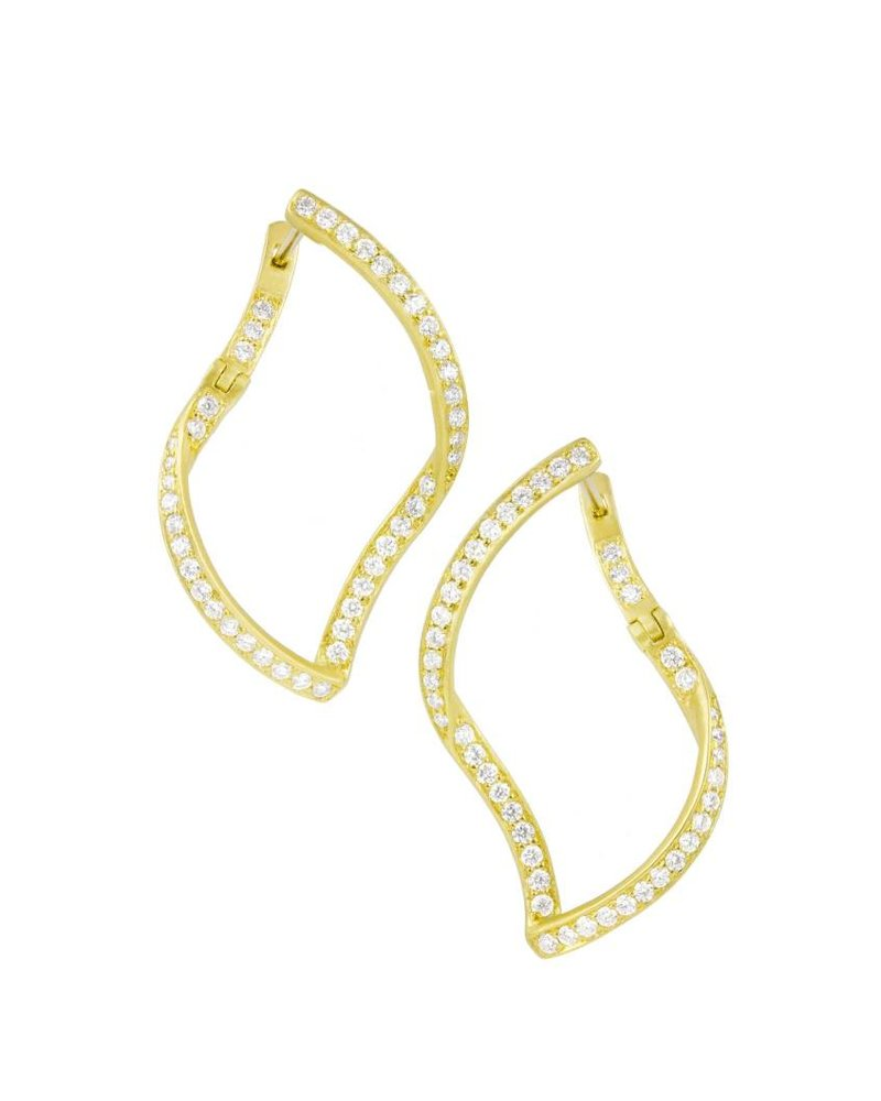 Carelle Athena Pave Diamond Single Leaf Earrings