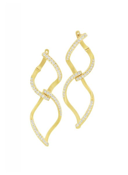 Carelle Pave Diamond Double Leaf Earrings