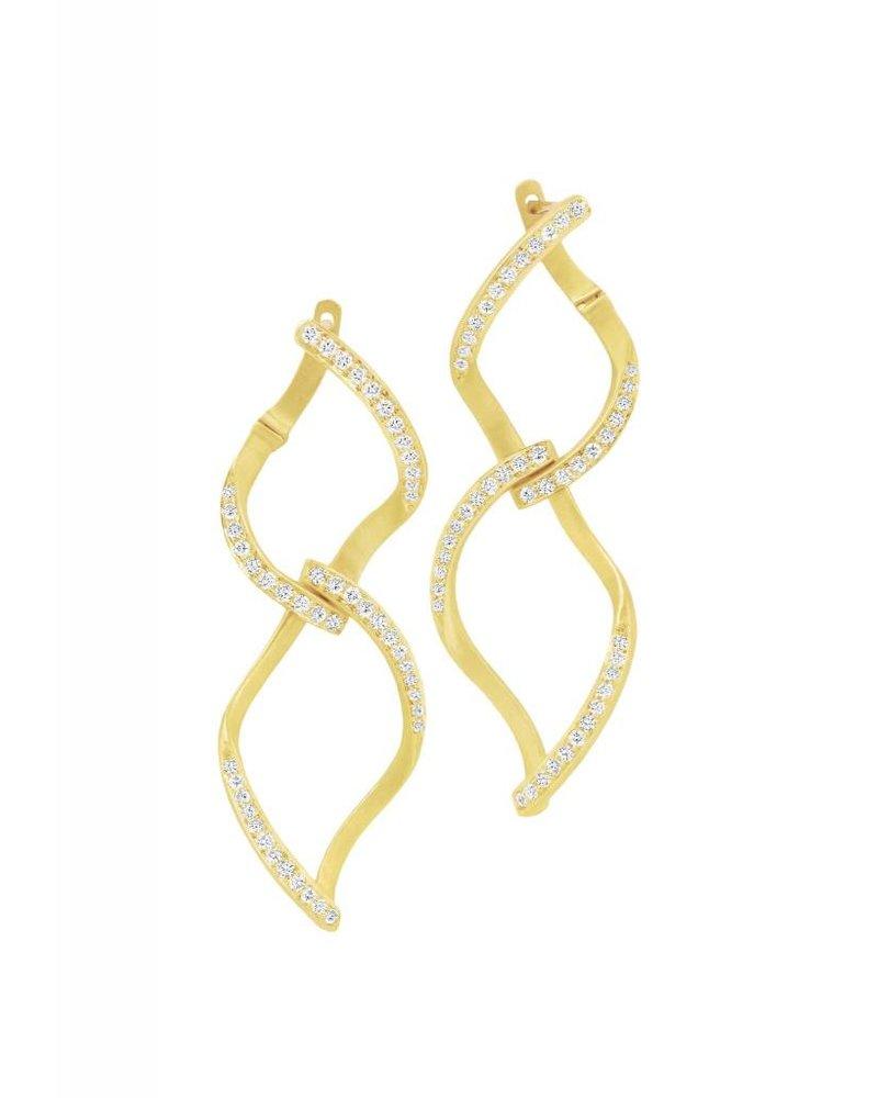 Carelle Pave Diamond Double Leaf Earrings