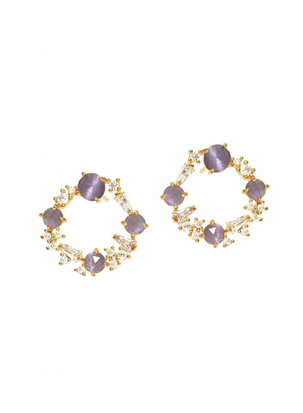 Tai Mixed Stone Baguette Hoops