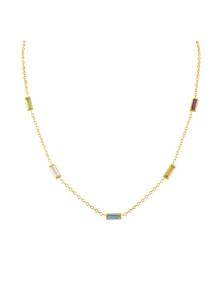 Amy Glaswand Confetti Baguette Necklace