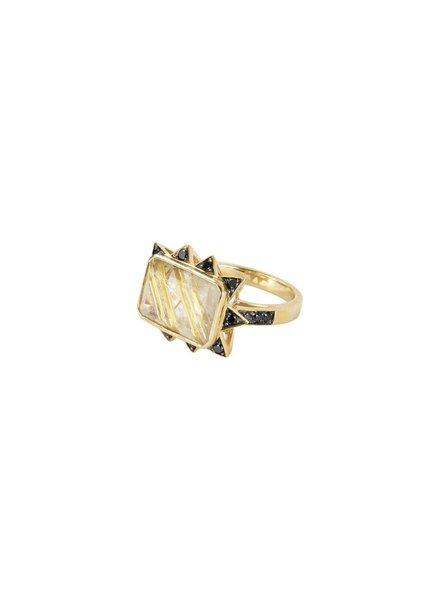 Rutile Starburst Rectangular Ring