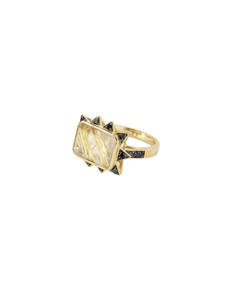 Rutile Starburst Rectangular Ring