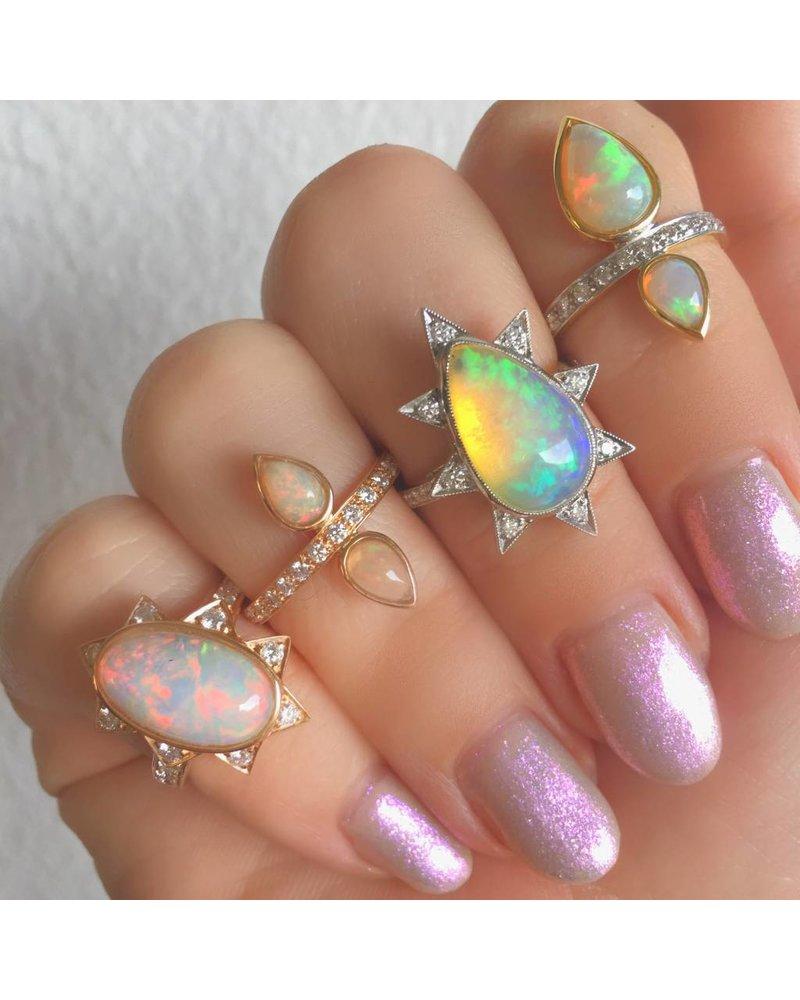 M. Spalten Jewelry Pear Shape Opal Starburst Ring