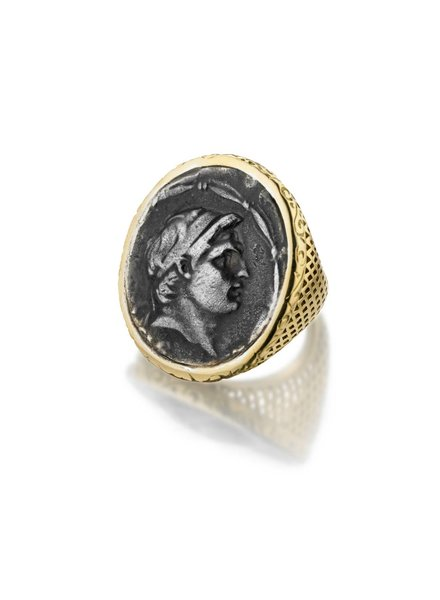 Vintage Greek Coin Ring