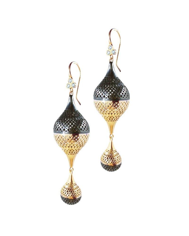 Oxidized Silver & Crownwork Earring