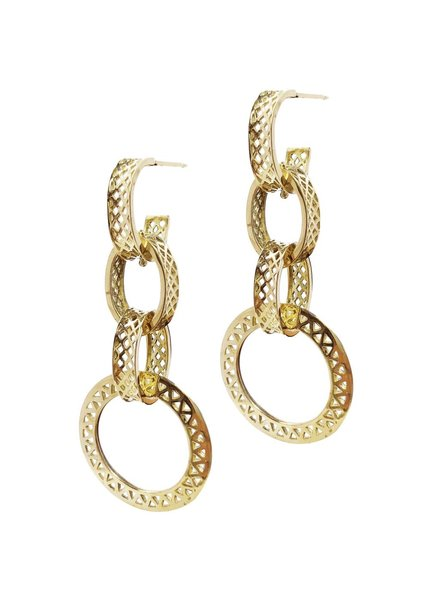 Gold Triple Crownwork Earrings