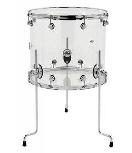 DW DW Design Series Clear Acrylic 16 x 18 Floor Tom with Chrome Hardware
