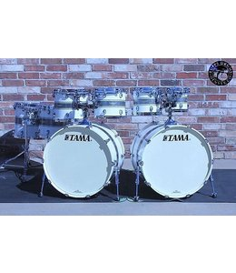 Tama Tama Starclassic Maple 8pc Silver Snow Racing Stripe Double Bass Drum Shell Pack