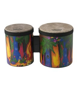 Remo Remo  Kids Percussion Bongos, 5''/6'' Diameters, Fabric Rain Forest