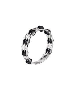 Meinl Meinl Tambourine 2 Rows Black Plated Steel Jingles in White Marble