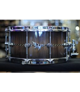 Hendrix Drums Hendrix Drums 14x7 in Gloss Walnut Burst Stave Snare Drum w/deco inlay