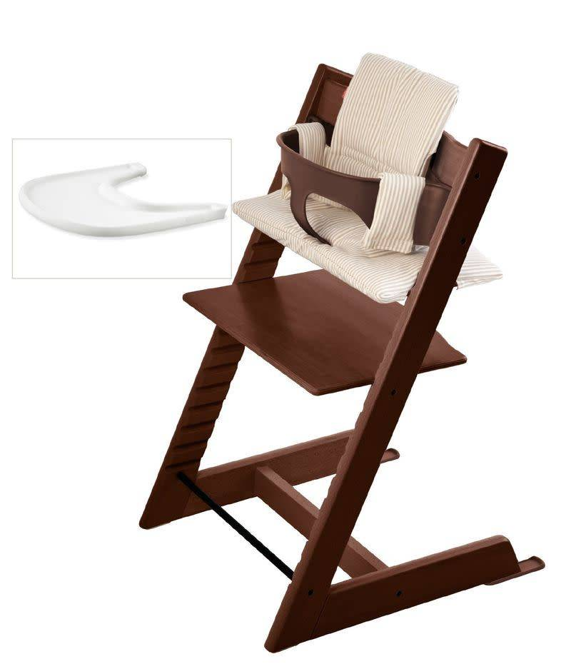stokke stokke tripp trapp complete bundle walnut w beige stripe the baby store. Black Bedroom Furniture Sets. Home Design Ideas