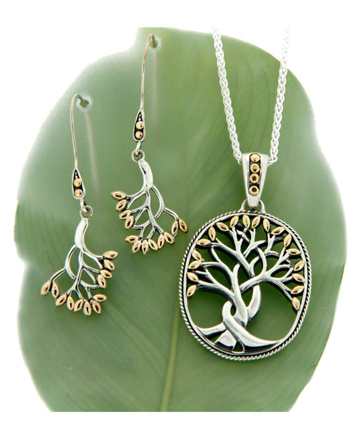 Bracelet: Tree of Life Bangle, Sterling & 18k