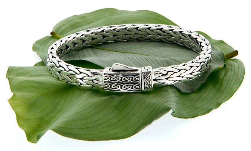 Bracelet: Sterling Dragon Weave, Celtic Square