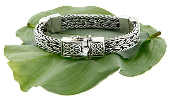 Keith Jack Bracelet: Sterling Celtic Weave Eternity, 3-Hinge